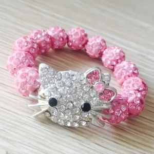 Girl's pink hello kitty beaded bracelet